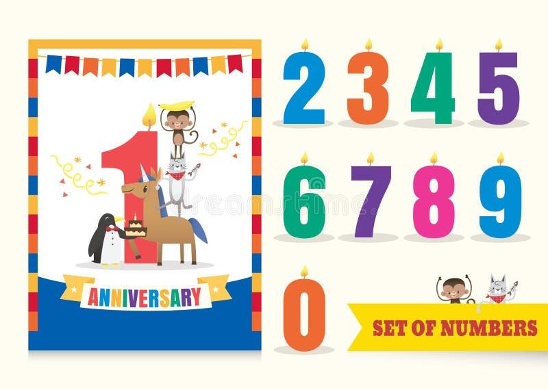 Un anniversario di anno scherza il fondo della celebrazione di compleanno con il fumetto degli animali illustrazione vettoriale