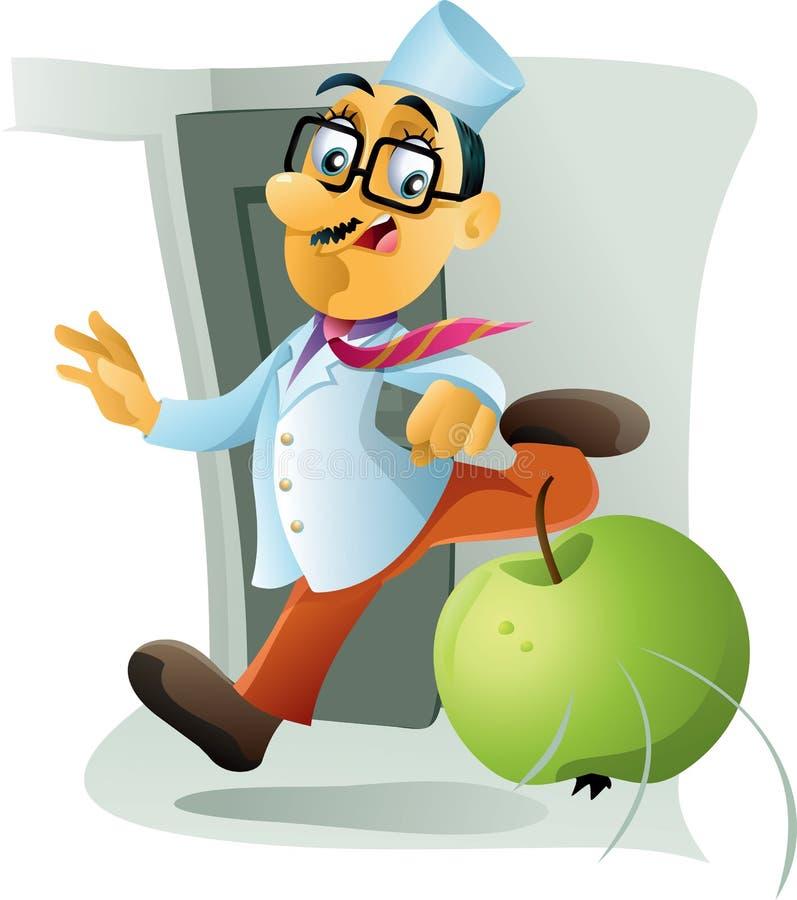 Un Apple par jour garde le docteur Away illustration de vecteur