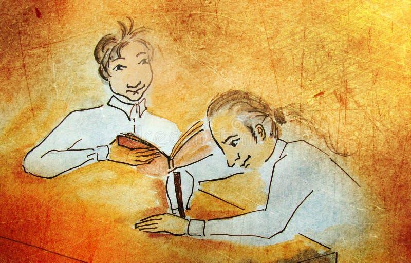 Un apprendimento dei due ragazzi illustrazione di stock