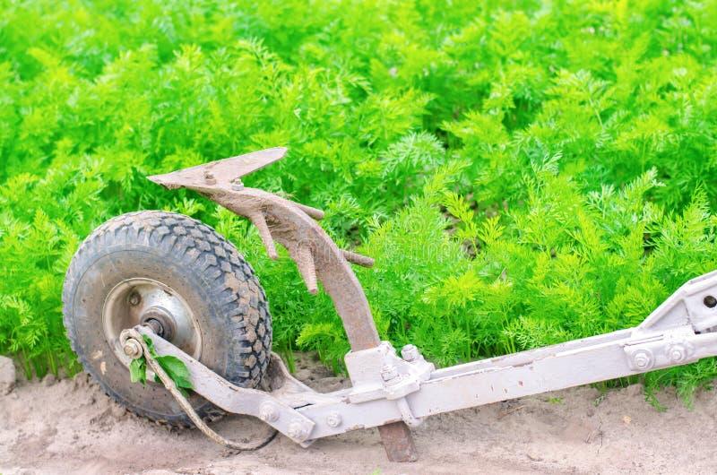 Un aratro manuale su un argano elettrico coltivatore Strumenti agricoli, coltivanti agricoltura Aratura della terra prima della p fotografie stock