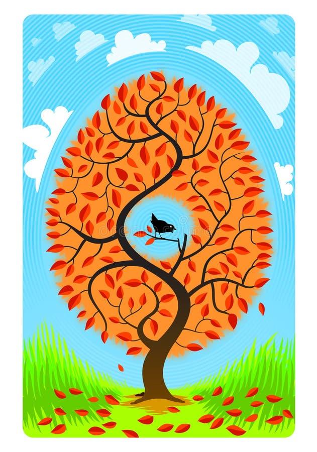 Un arbre avec un oiseau sur un fond bleu avec les nuages supplémentaires illustration de vecteur