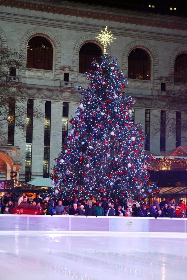 Un arbre de Noël domine au-dessus d'une patinoire image stock
