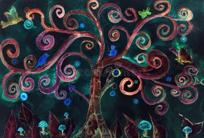 Un arbre fol de turquoise imaginaire contre un ciel nocturne illustration de vecteur