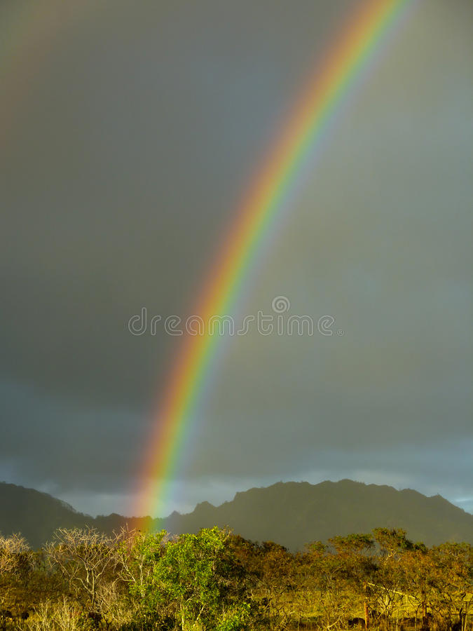 Un arc-en-ciel apparaît après des précipitations sur l'île hawaïenne de Kauai images libres de droits