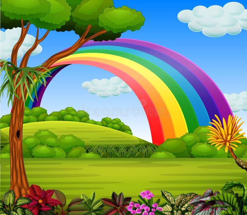 Un arc-en-ciel de colorfull avec la vue de jardin illustration de vecteur