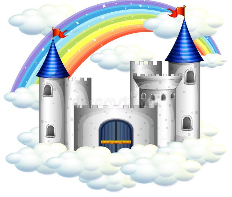Un arco iris sobre castillo hermoso libre illustration