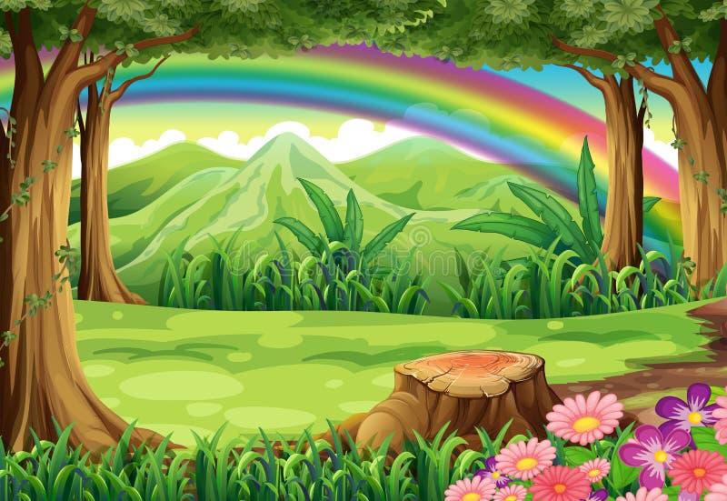 Un arco iris y un bosque ilustración del vector