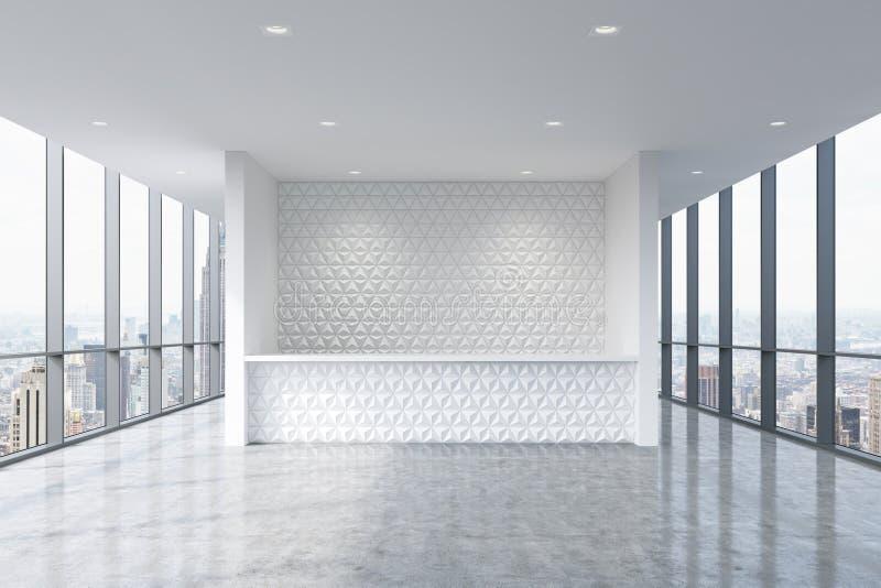 Un'area reception in un interno pulito luminoso moderno dell'ufficio Finestre panoramiche enormi con la vista di New York illustrazione vettoriale