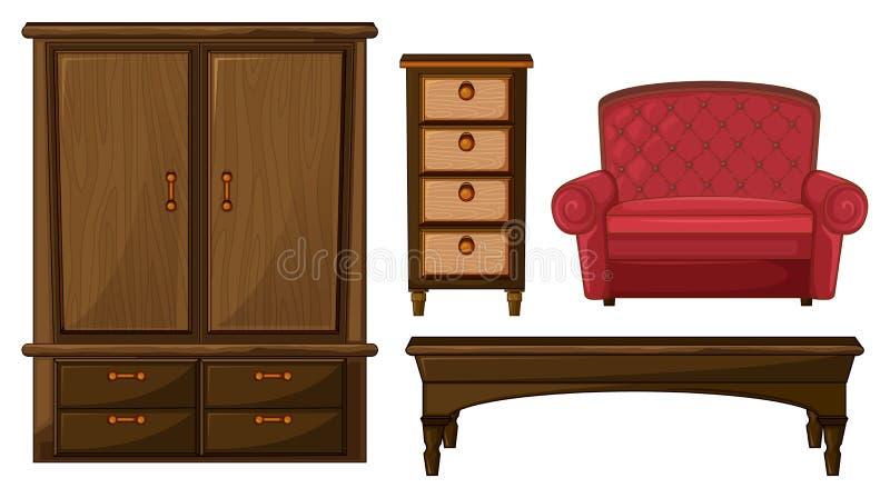 Un armario, un cajón, una tabla y un sofá ilustración del vector