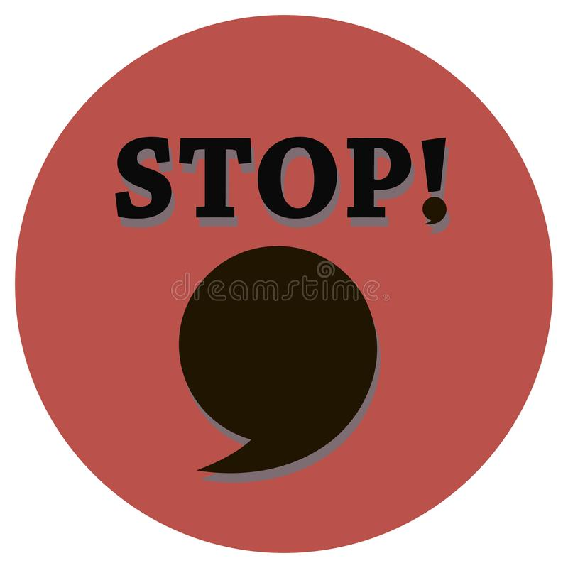 Un arrêt d'inscription avec un signe voxlic et une grande virgule bouillonnent pour une reproduction sur un fond rouge de cercle  illustration libre de droits