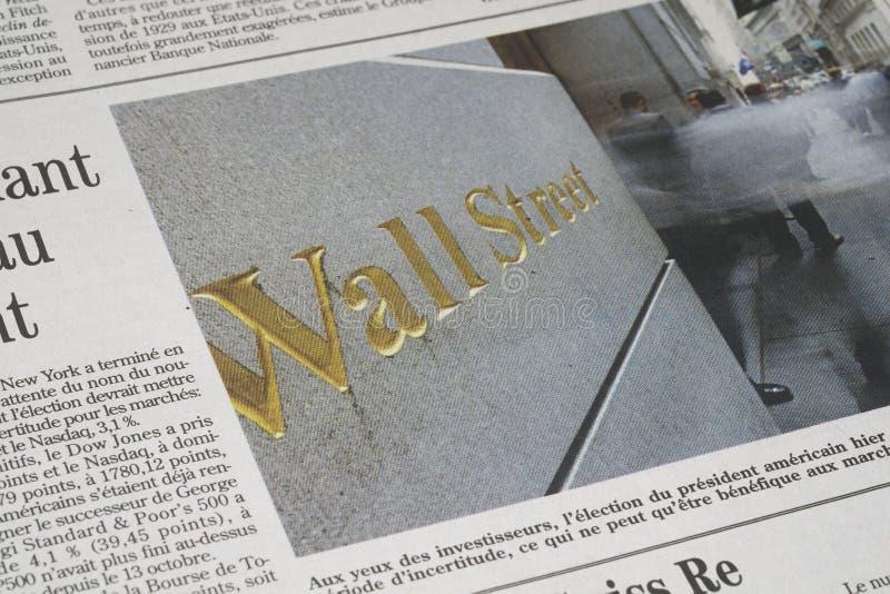 Un artículo de Wall Street foto de archivo libre de regalías