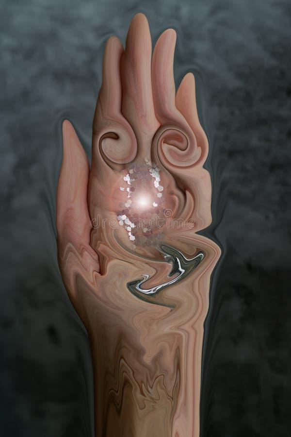 Un arte abstracto de la mano que lleva a cabo un brillo de fusión en un fondo de mármol gris fotografía de archivo