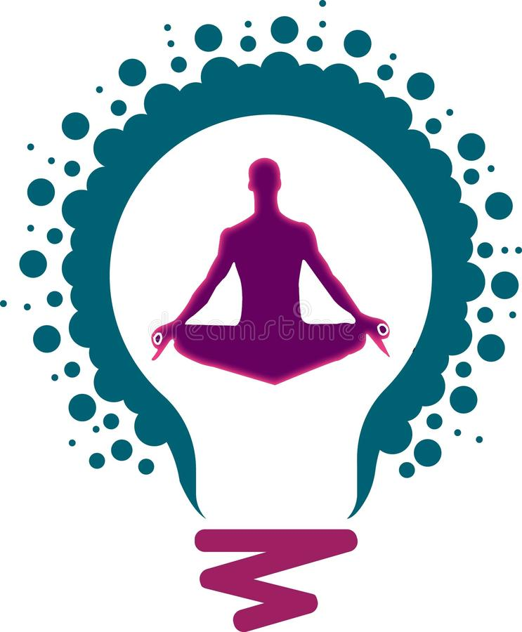 Un'arte dell'illustrazione di milione logo leggeri della lampada e potere di yoga di zen con fondo isolato illustrazione di stock