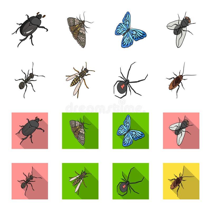 Un arthropode d'insecte, un osa, une araignée, un cancrelat Les insectes ont placé des icônes de collection dans la bande dessiné illustration libre de droits