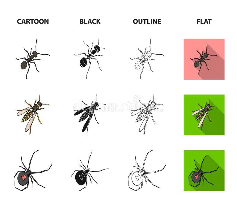 Un arthropode d'insecte, un osa, une araignée, un cancrelat Les insectes ont placé des icônes de collection dans la bande dessiné illustration stock