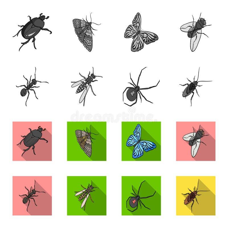 Un arthropode d'insecte, un osa, une araignée, un cancrelat Les insectes ont placé des icônes de collection dans le symbole monoc illustration libre de droits