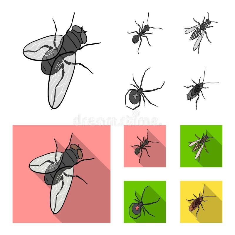 Un arthropode d'insecte, un osa, une araignée, un cancrelat Les insectes ont placé des icônes de collection dans le symbole monoc illustration de vecteur