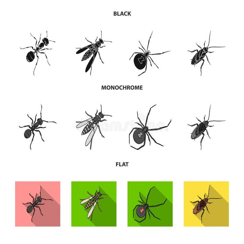 Un arthropode d'insecte, un osa, une araignée, un cancrelat Les insectes ont placé des icônes de collection dans le vecteur noir, illustration stock