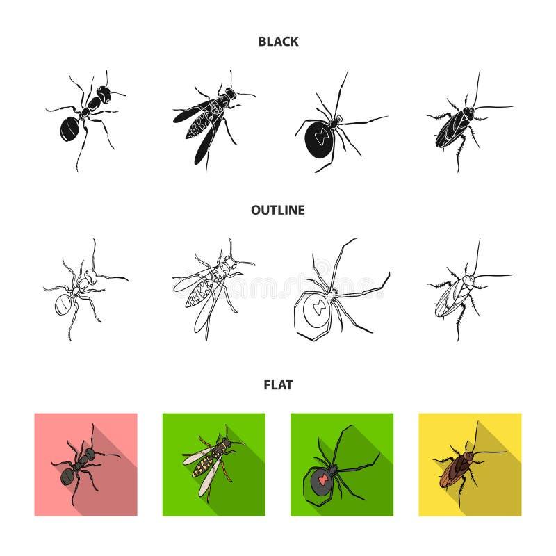 Un arthropode d'insecte, un osa, une araignée, un cancrelat Les insectes ont placé des icônes de collection dans noir, plat, vect illustration libre de droits