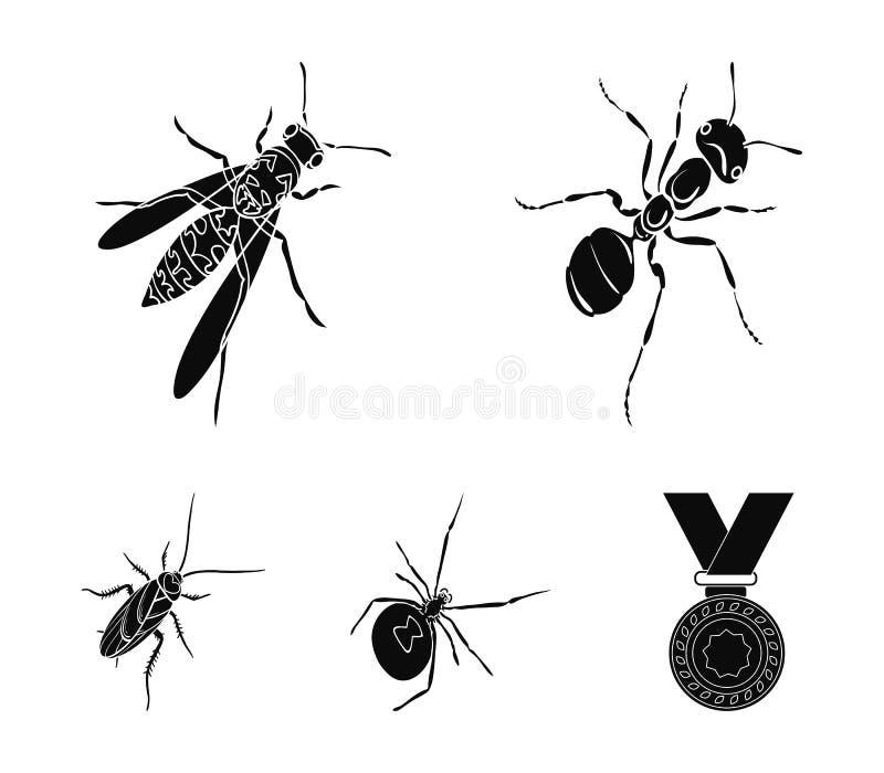 Un arthropode d'insecte, un osa, une araignée, un cancrelat Les insectes ont placé des icônes de collection en stock noir de symb illustration libre de droits
