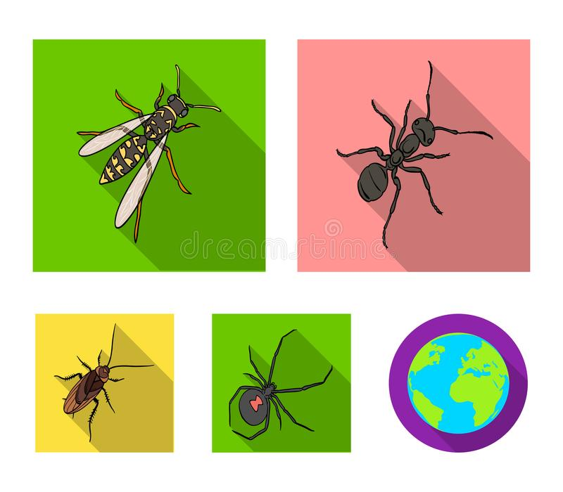 Un arthropode d'insecte, un osa, une araignée, un cancrelat Les insectes ont placé des icônes de collection en stock plat de symb illustration stock