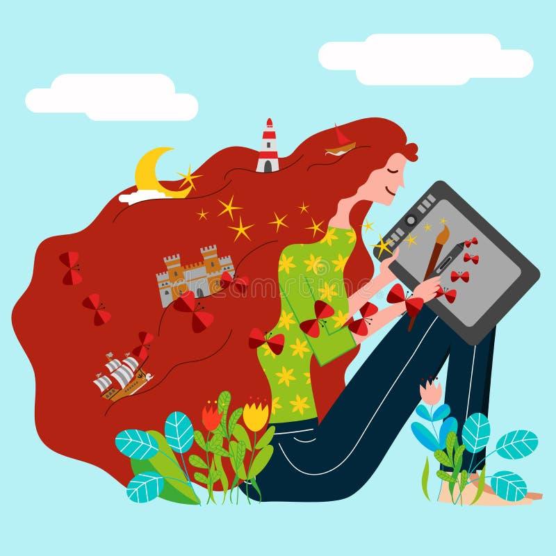 Un artista digital independiente crea el ejemplo con el cepillo tradicional y la tableta gráfica stock de ilustración