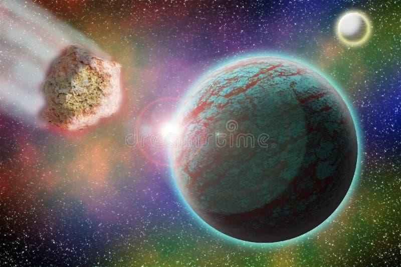 Un asteroide vuela al ejemplo del planeta 3d ilustración del vector
