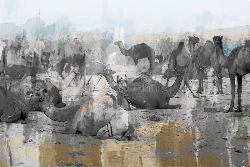 Un'astratta pittura digitale di cammelli nel deserto, una fiera del commercio di cammelli in India illustrazione vettoriale
