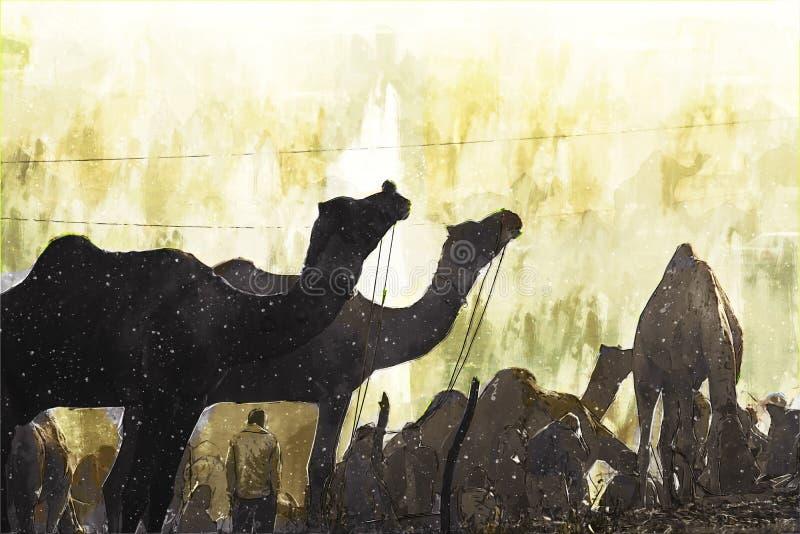 Un'astratta pittura digitale di cammelli nel deserto, una fiera del commercio di cammelli in India royalty illustrazione gratis