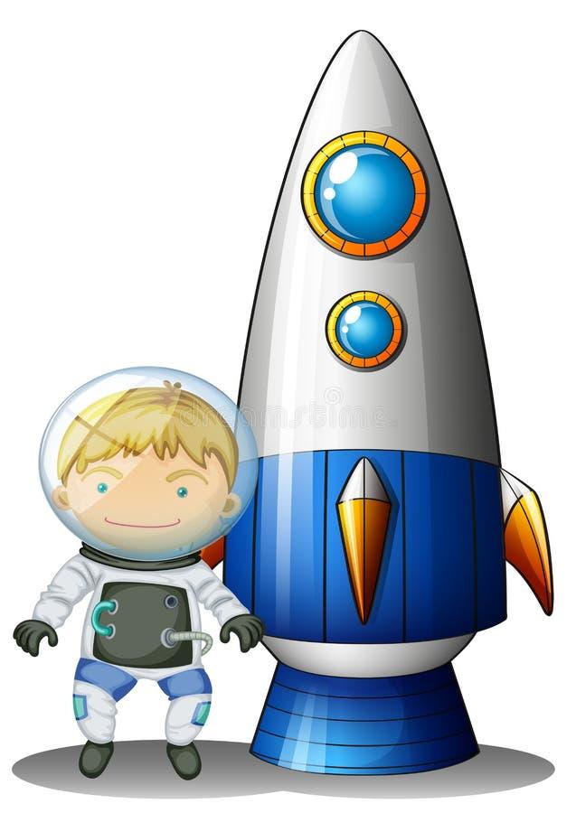 Un astronauta al lado del dirigible stock de ilustración