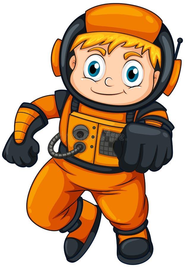 Un astronauta que lleva un traje anaranjado stock de ilustración