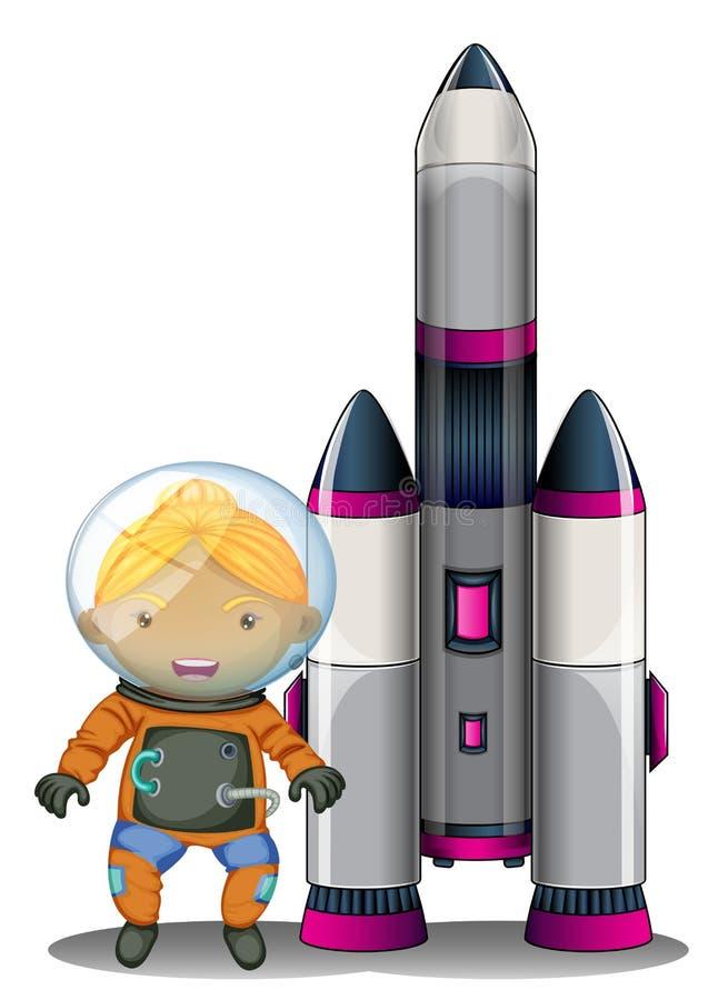 Un astronauta que se coloca al lado de la nave espacial grande libre illustration