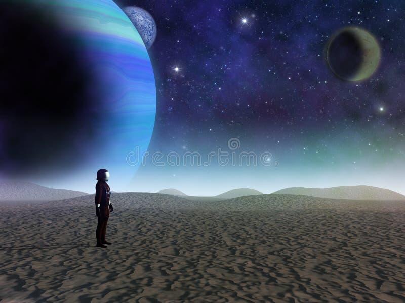 Un astronauta solitario mira hacia el sunrsise ilustración del vector