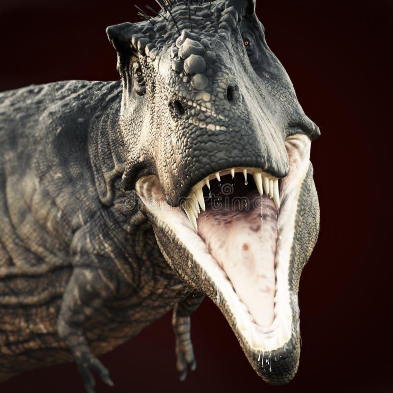 Un ataque de Rex del tiranosaurio en fondo oscuro imagenes de archivo