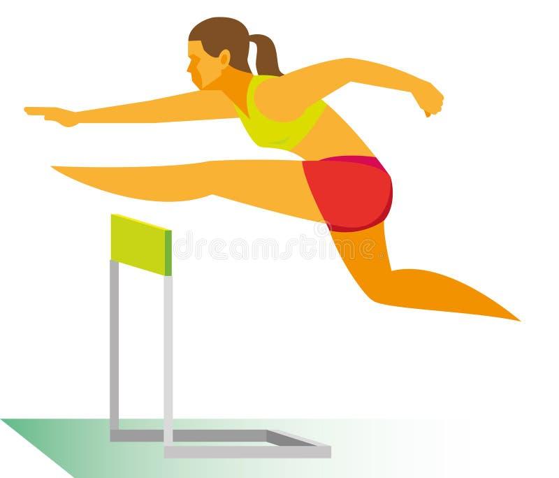 Un atleta de la mujer joven es un corredor con obstáculos que supera stock de ilustración