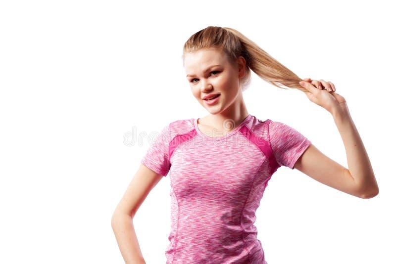 Un atleta delgado joven de la mujer fotos de archivo