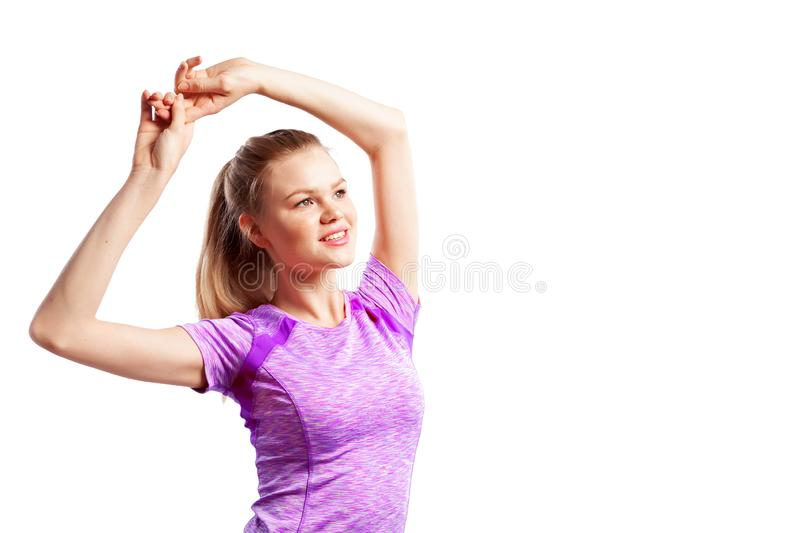 Un atleta delgado joven de la mujer imagenes de archivo