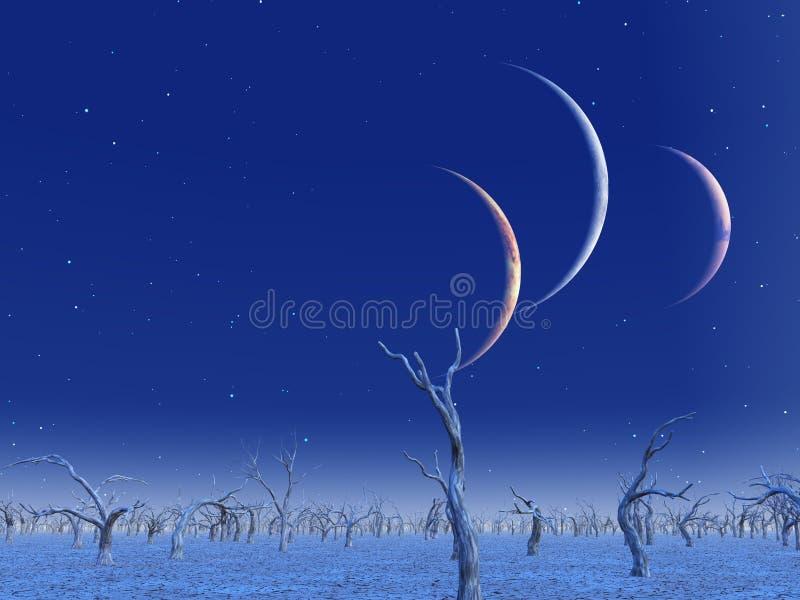 Un aumento di tre pianeti illustrazione vettoriale