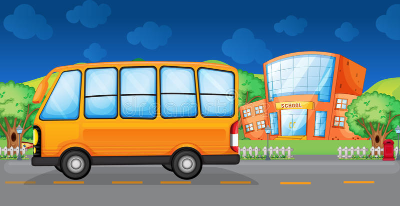 Un autobus jaune le long de la rue illustration de vecteur