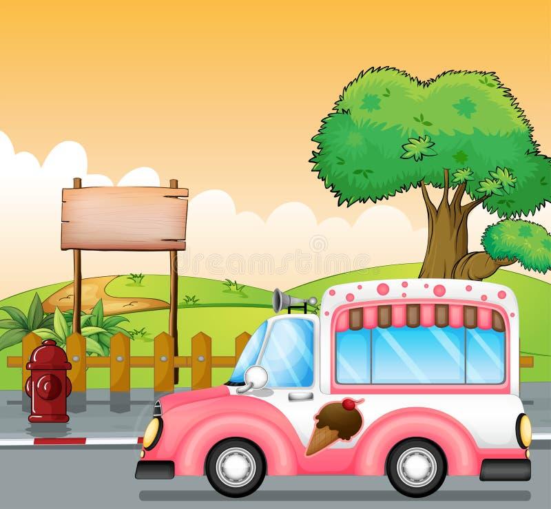 Un autobus rose de crème glacée et un conseil vide illustration libre de droits