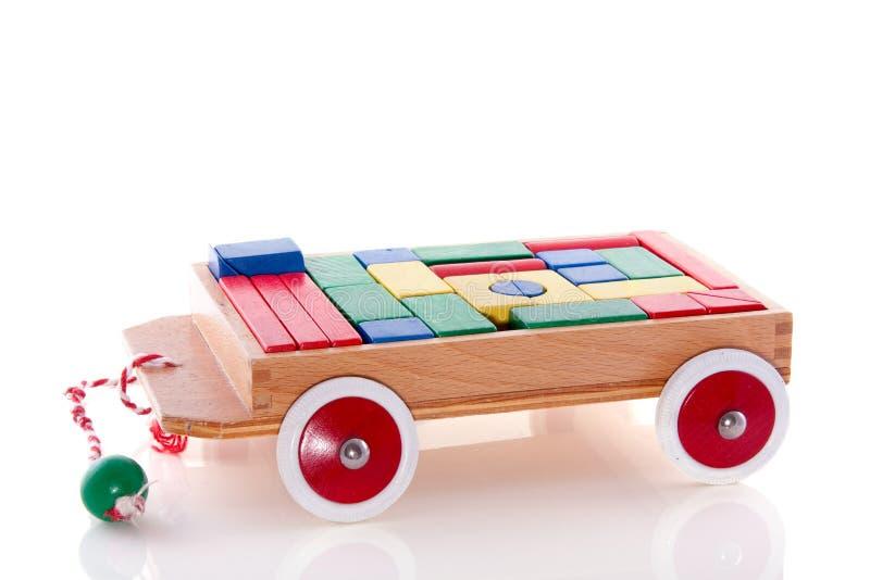Un'automobile di legno del giocattolo fotografia stock