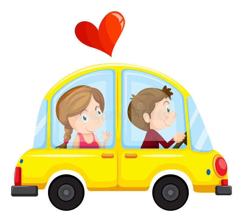 Un'automobile gialla con una coppia amorosa royalty illustrazione gratis