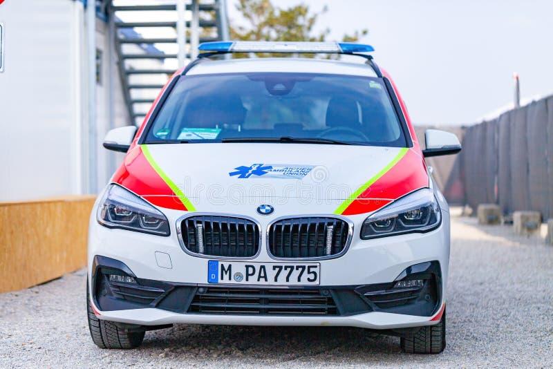 Un'automobile tedesca dell'ambulanza dall'unione dell'ambulanza di Aicher immagine stock