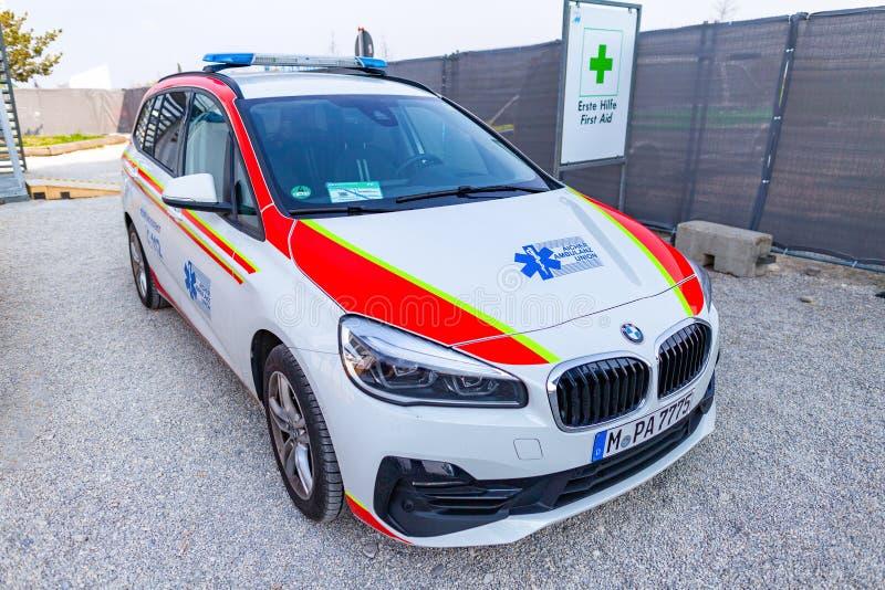 Un'automobile tedesca dell'ambulanza dall'unione dell'ambulanza di Aicher immagine stock libera da diritti