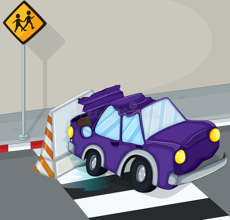 Un'automobile viola che ha un incidente alla strada royalty illustrazione gratis