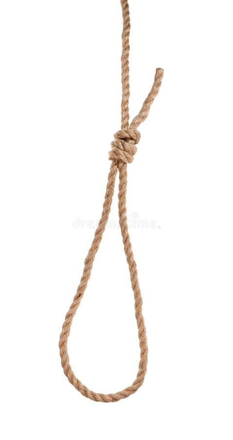 un autre côté de noeud coulant de glissement avec le noeud de potence photos libres de droits