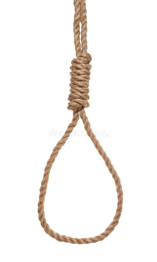 un autre côté du noeud du bourreau attaché sur la corde de jute image libre de droits