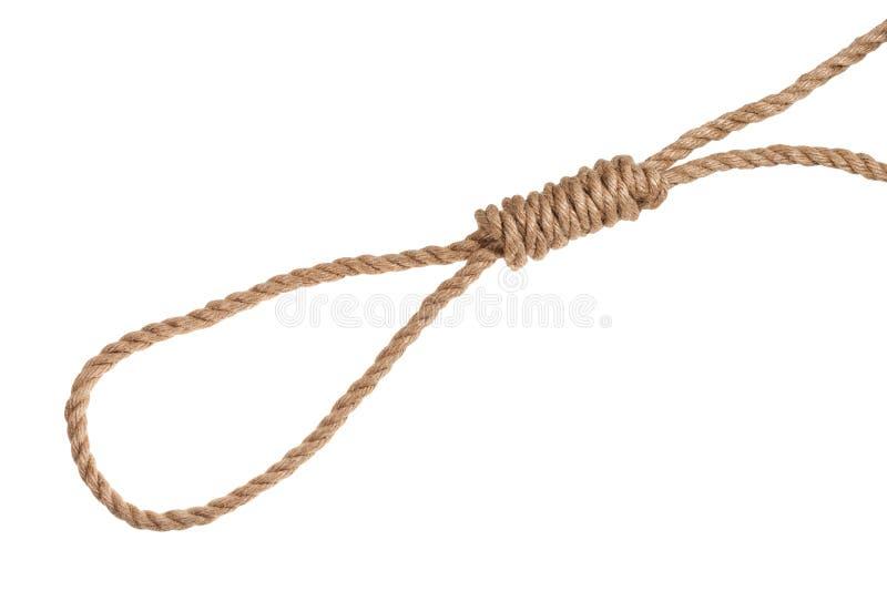 un autre côté du noeud coulant du bourreau de la corde de jute images stock
