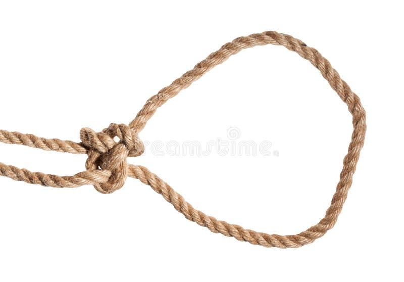 un autre côté du noeud de bouline courant attaché sur la corde photos stock