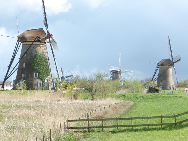 Un autre groupe de moulins à vent en Hollande image stock